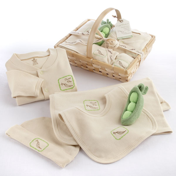 "Fresh Produce"" Sweet Pea Five-Piece Organic Layette Se"