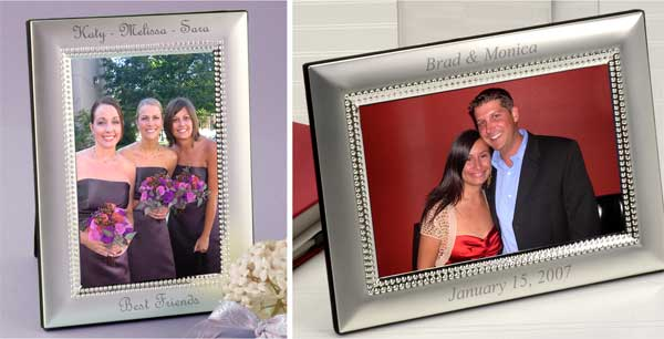 Beaded Matte Silver Picture Frame