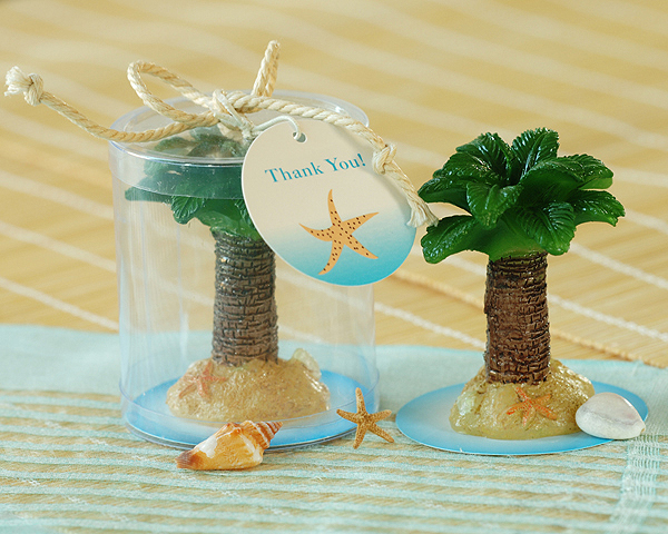 Palm Tree Candle in Display Box with Rope Ribbon and Thank You T