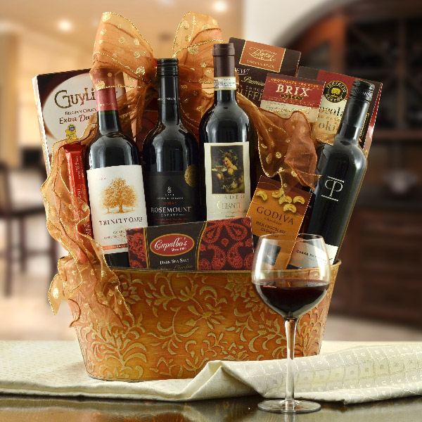 4 Red Wines From 4 Continents Gift Basket