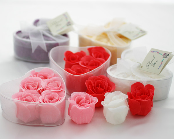 Rose Soap Petals in Clear Heart Shape Box with Organza Ribbon an