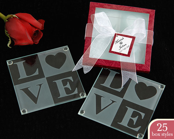 Love Glass Coasters in Personality Box ( 25 styles/colors) (Sold