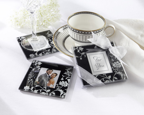 Timeless Traditions Elegant Black & White Glass Photo Coasters
