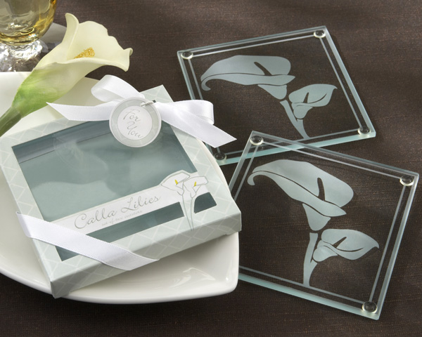 Calla Lilies Frosted-Glass Coasters in Floral-Inspired Gift Box
