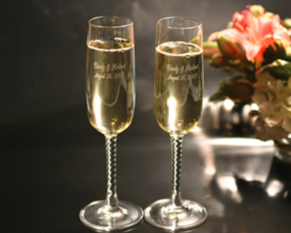 Spiral Stem Champagne Flutes (Set of two)
