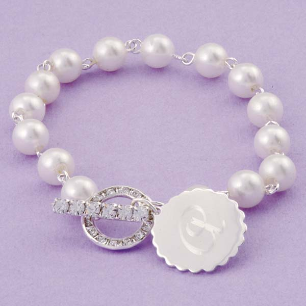 Pearl Bracelet with Rhinestone Toggle and Medallion Charm