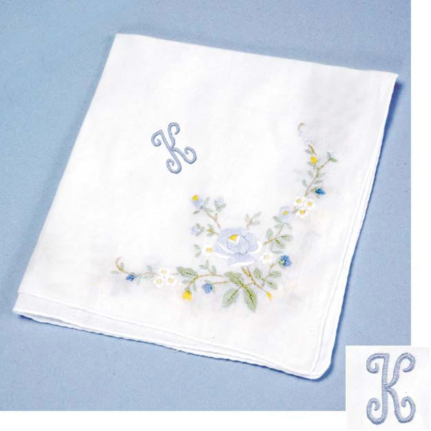 Personalized Blue Floral Hankerchief