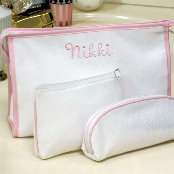 3-PieceTerry Cloth Cosmetic Bags