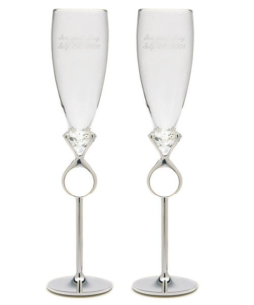 Diamond Ring Champagne Flutes