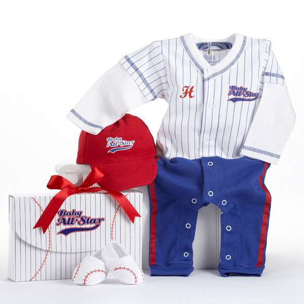 Baby Slugger Baseball Three-Piece Layette Set in All-Star Gift B