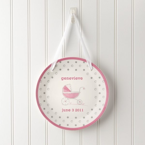 Classic Pram Keepsake Personalized Baby Birth Plate