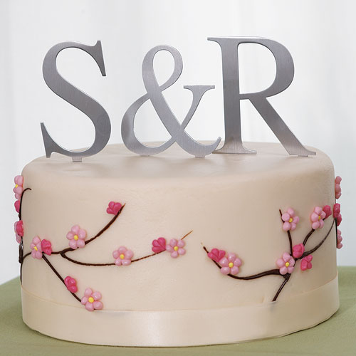 "Brushed Silver Monogram Cake Toppers 3"" or 4"""