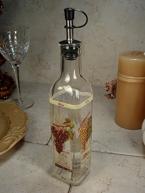 "Medium Glass Oil Bottle ""grapes"" Design"