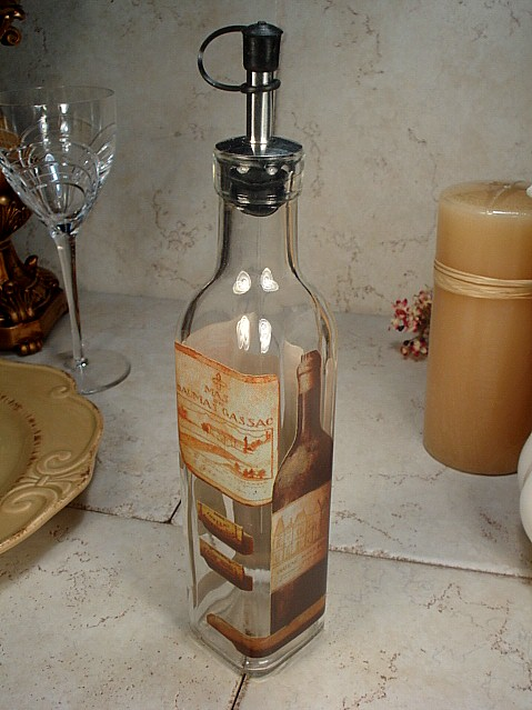 "SS14 - Medium Glass Oil Bottle ""wine"" Design"