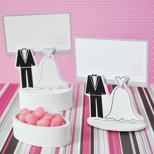 Bride Groom Place Card Favor Boxes with Designer Place Cards (se