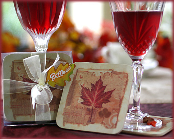 """Fall in Love"" Set of 4 Maple Leaf Coaster Set"