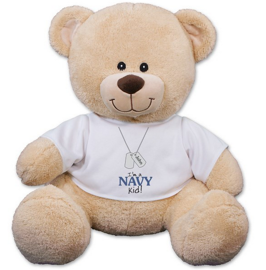 Military Kid T Shirt Teddy Bear Personalized 11""