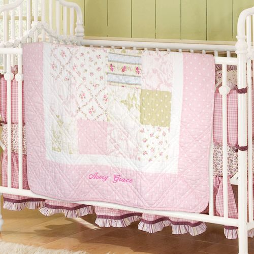 Embroidered Personalized Baby Quilt *pink or blue