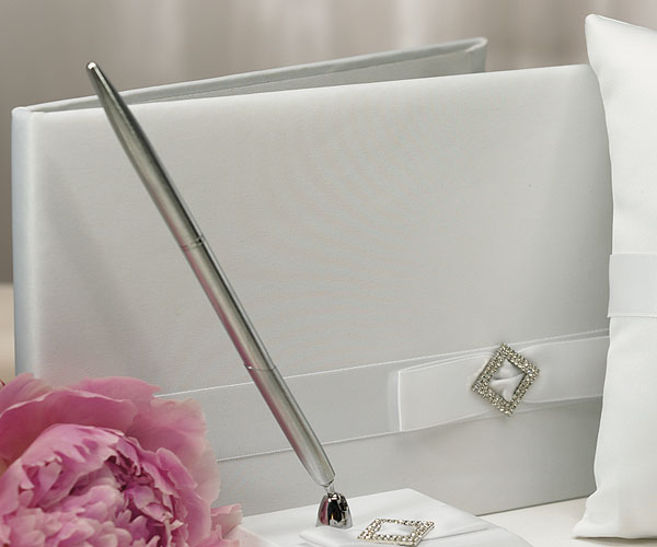 Pure Elegance in Wedding White Traditional Guest Book