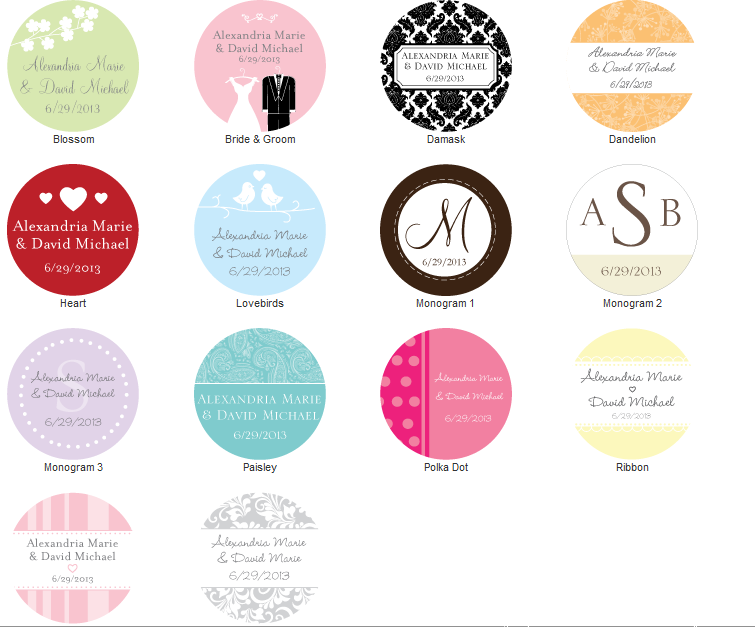 Personalized Wedding Favor Stickers Set Of 48