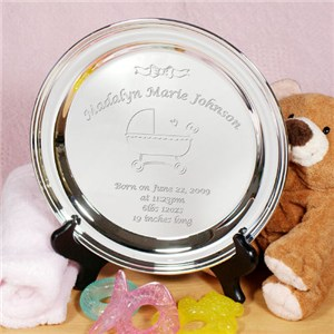 Personalized Silver Engraved Birth Plate
