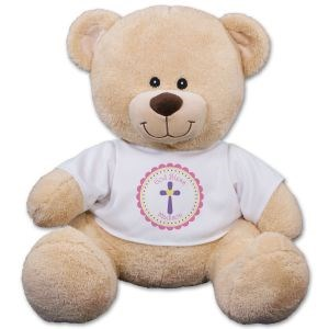 Teddy Bear with custom God bless t shirt