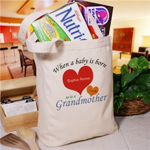 A Grandmom/New Baby Personalized Canvas Tote Bag