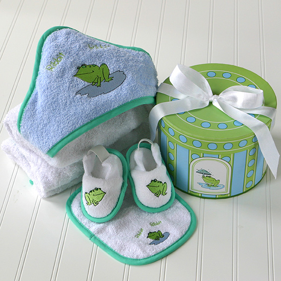 Frog Four Piece Bathtime Gift Set in Hat box