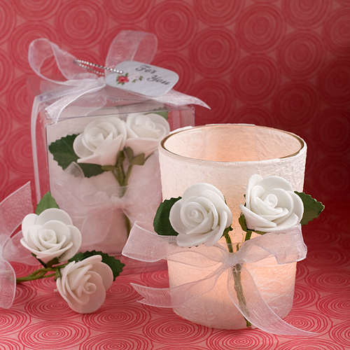 White Rose Candle Votive Luminaries Gift Boxed