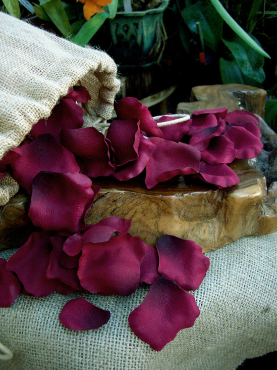 250 Silk Burgundy Rose Petals
