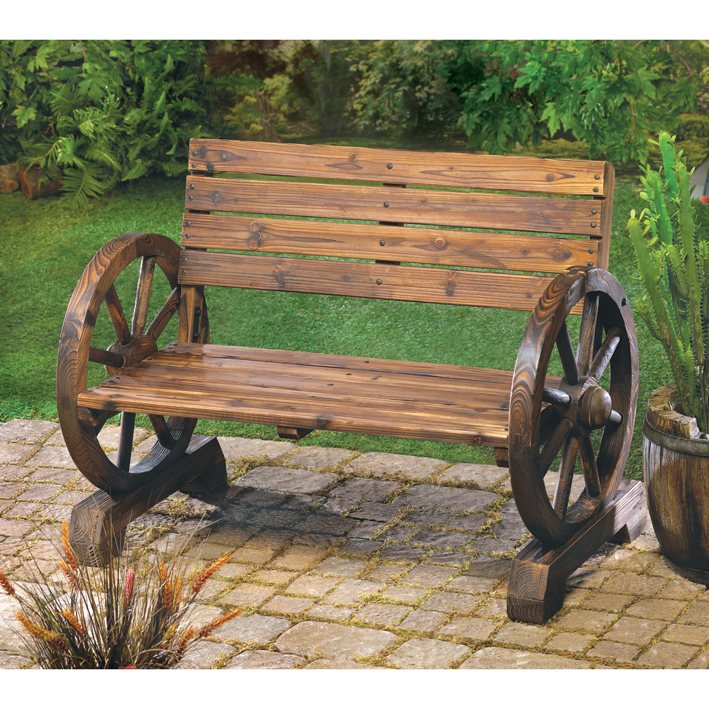 Western Wagon Wheel Bench